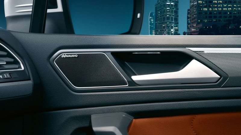 The DYNAUDIO system pillar speaker in the Volkswagen Tiguan