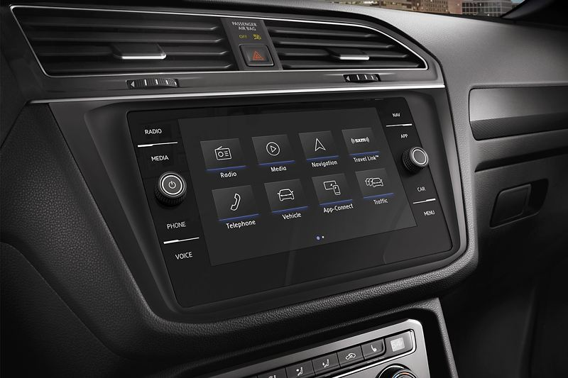 The touch-screen infotainment system in the Volkswagen Tiguan