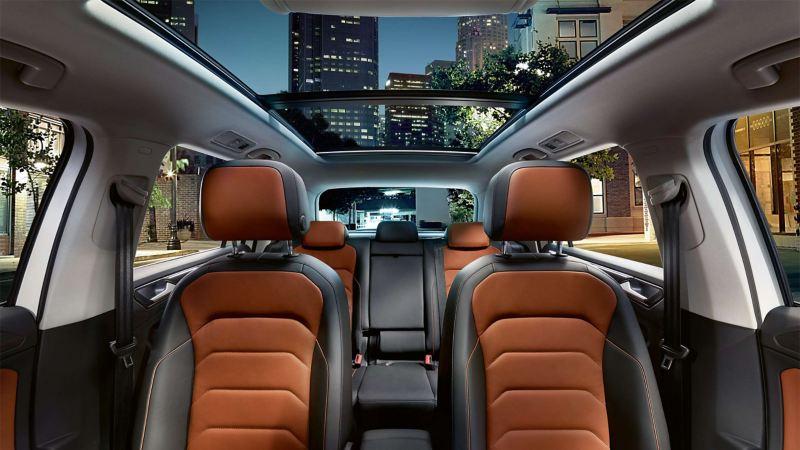 Orange seats in the Volkswagen Tiguan