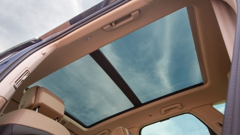 A view of the sunroof from inside the Volkswagen Touareg