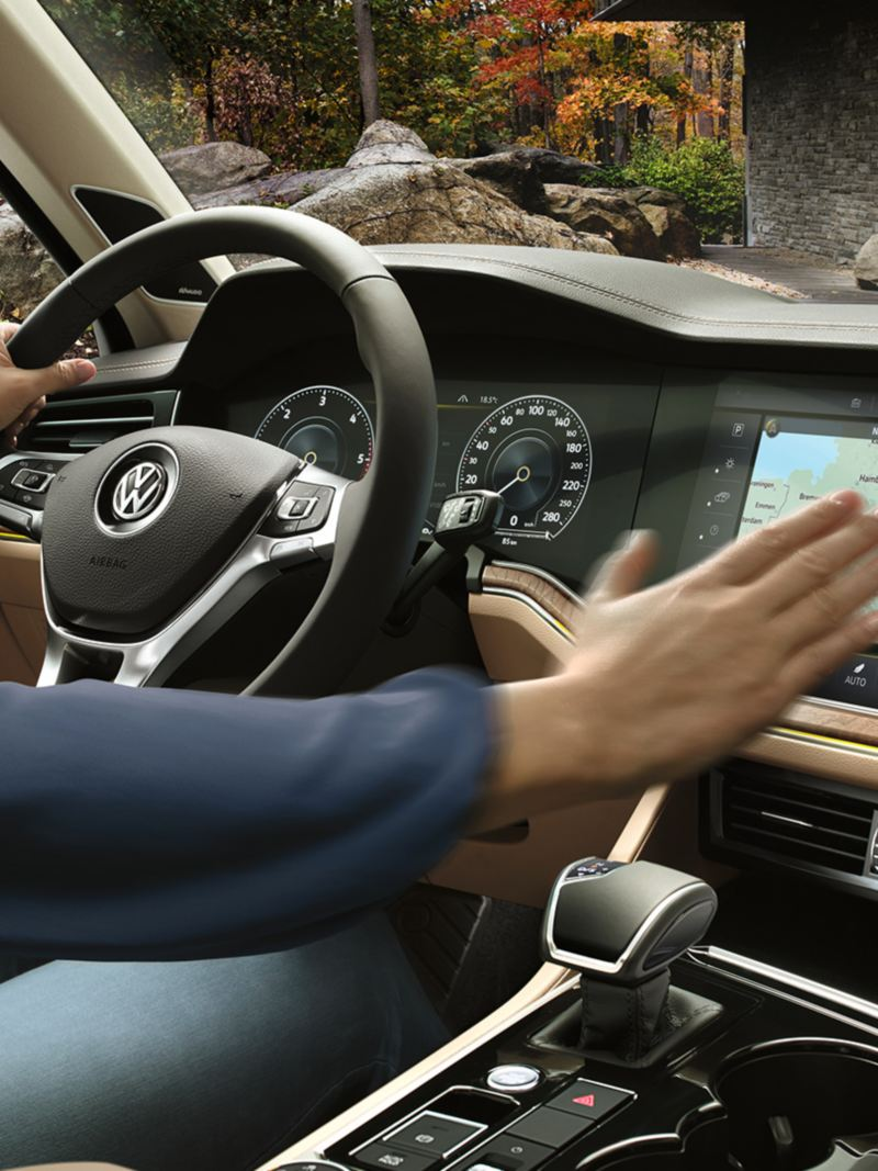 The navigation system on the innovision display infotainment system in the Volkswagen Touareg