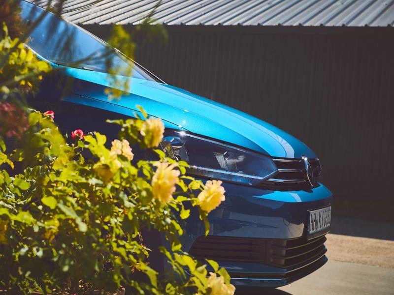 Detailansicht der Motorhaube eines blauen VW Touran mit Scheinwerfern und Kühlergrill.