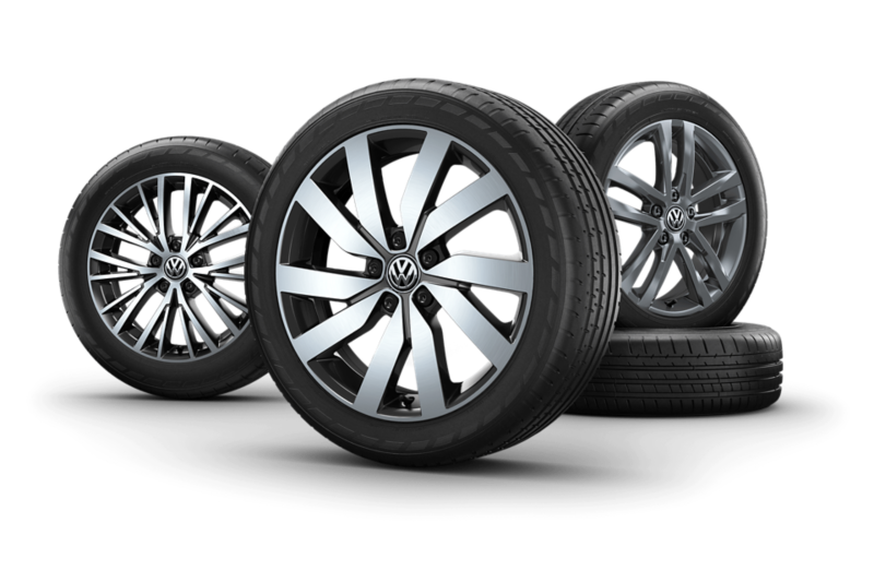 """Wheels of a VW Touran with the rims """"Marseille"""", """"Salvador"""", """"Vallelunga""""."""