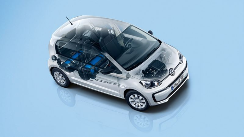 semi transparent VW eco load up! with engine components and natural gas tank