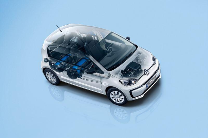 Halbtransparenter VW eco load up! mit Motorenkomponenten und Erdgastanks