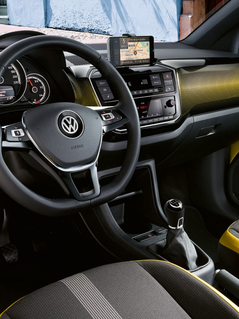 "Interior of the VW up! with dash pad ""pixel honey yellow"""