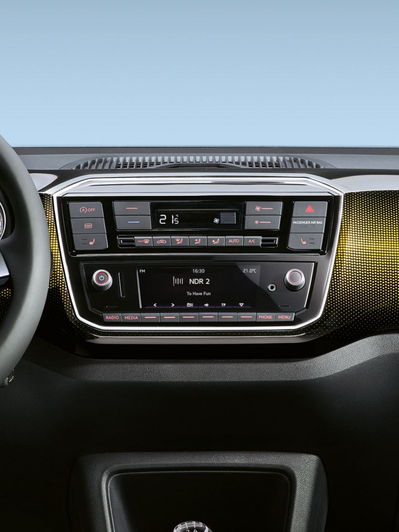 "VW up! dash pad ""pixels honey yellow"""