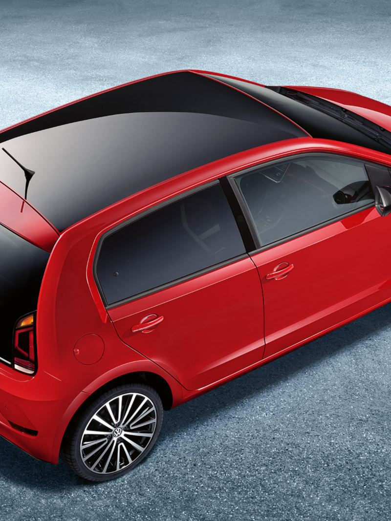 VW up! with black roof in different colours