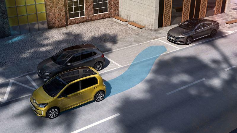 Volkswagen e-up! backar in i parkeringsficka