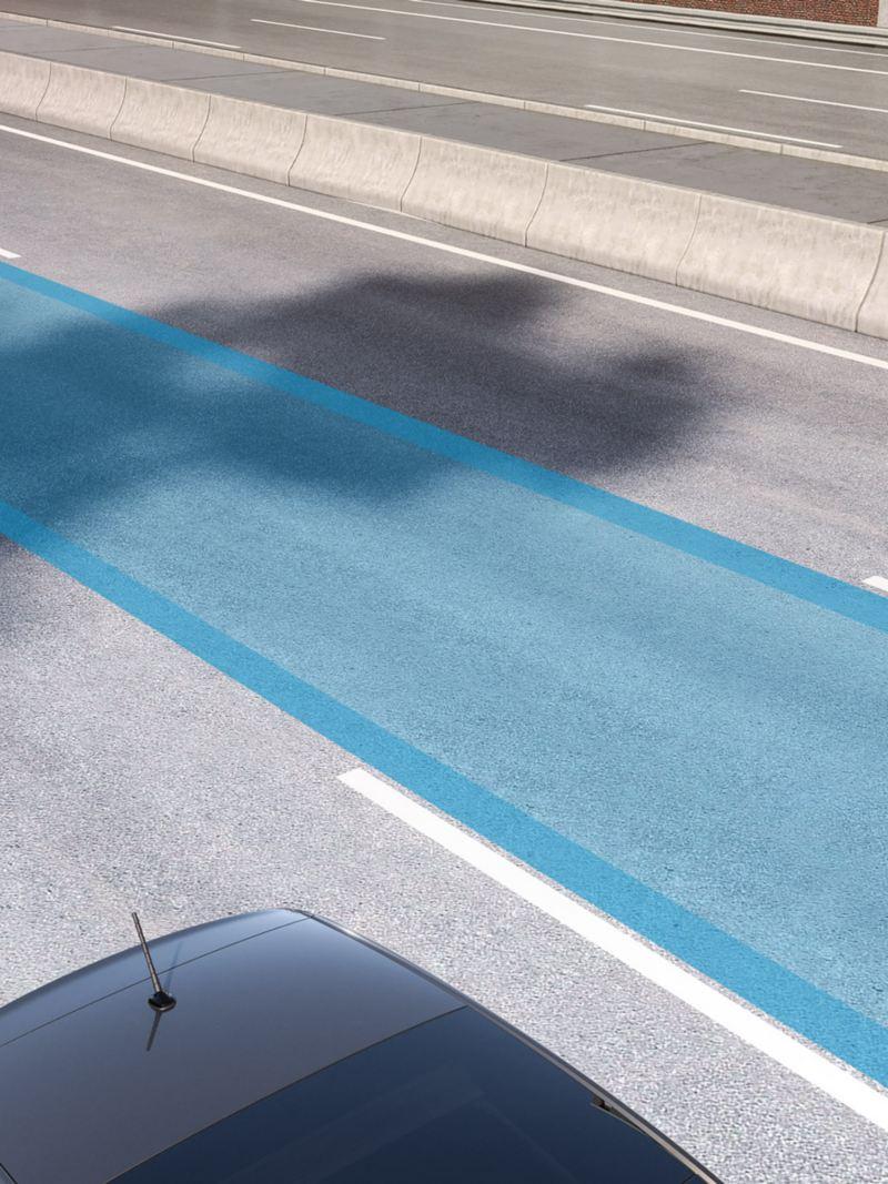 infografica funzionamento Lane Assist sistema assistenza mantenimento della corsia in Nuova up! city car Volkswagen
