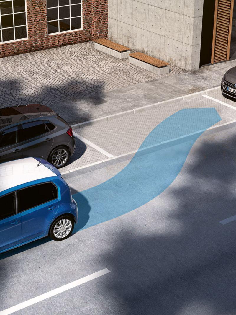 infografica Sistema di ausilio al parcheggio Park Pilot in Volkswagen up! city car auto