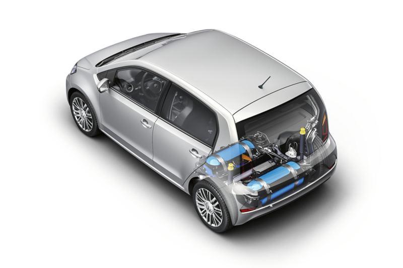 visualizzazione con componenti del motore e serbatoi del metano zona bagagliaio in Volkswagen eco up!