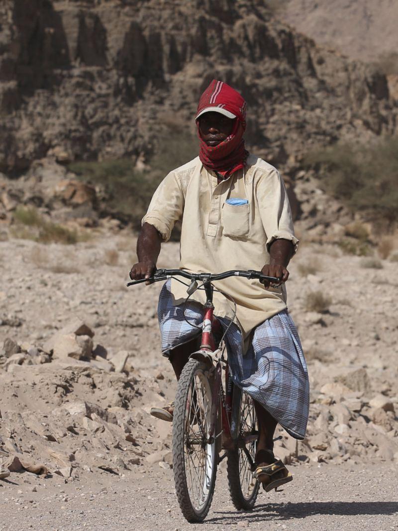 Amarok på väg bakom cykel i öknen