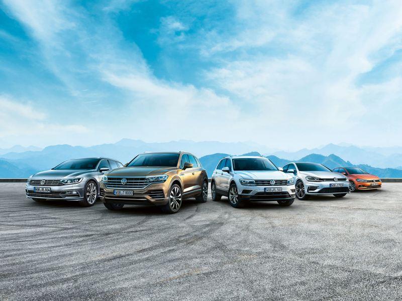 VW Passat Touareg Tiguan Golf und Polo stehen vor Bergen