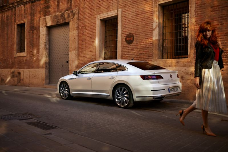 VW Arteon woman walking away