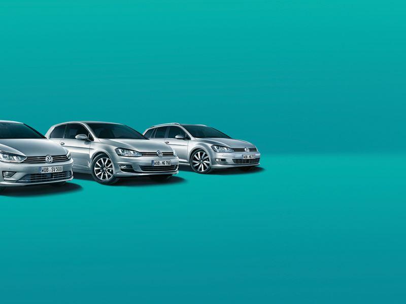 Volkswagen Modelle mit blauem Hintergrund
