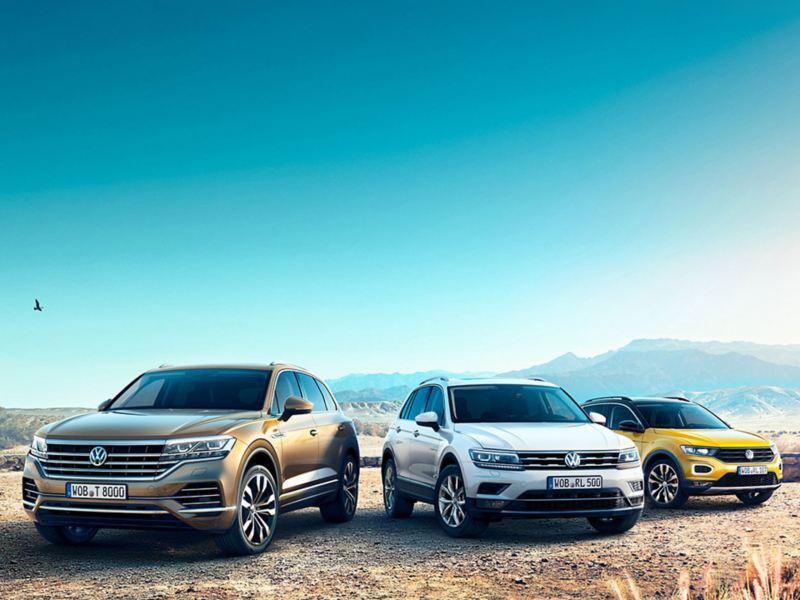 Range-bild med tre olika Volksagenbilar