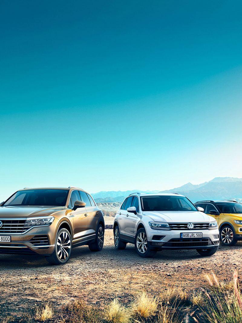 Range-bild med tre olika Volkswagenbilar