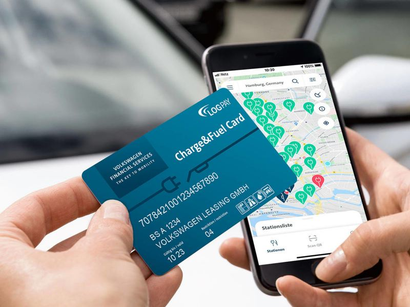Charge&Fuel Card for cashless payment with VW and UTA logos, issued to Volkswagen Leasing GmbH