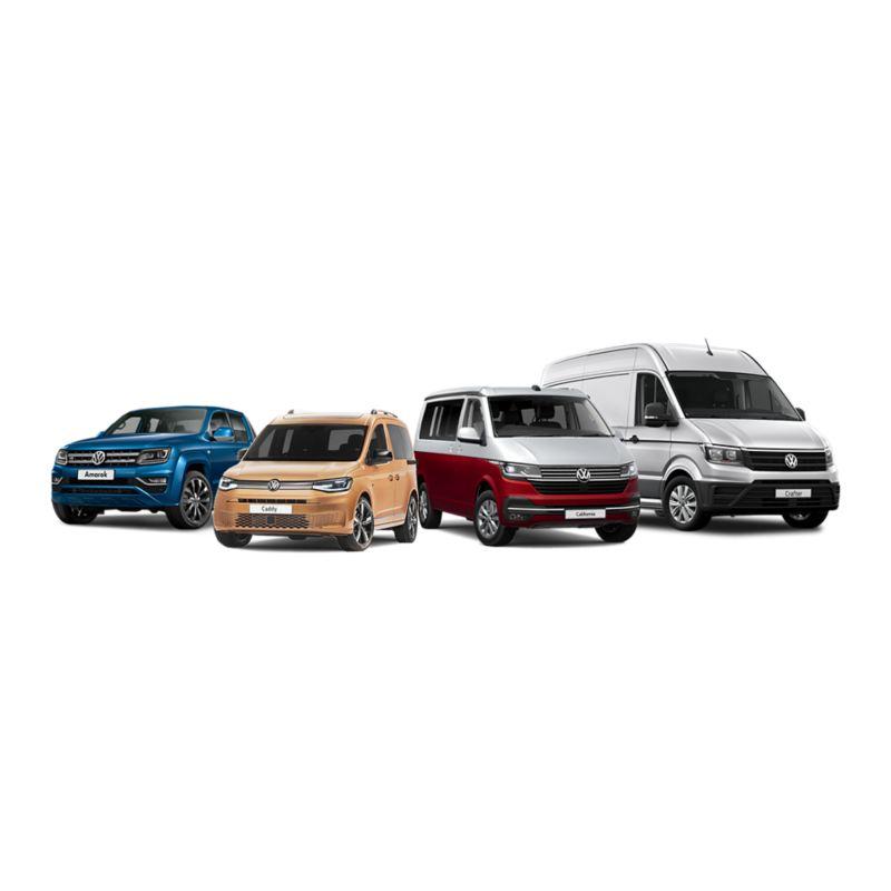 Todas as carrinhas da Volkswagen Veículos Comerciais: VW Amarok, Volkswagen Transporter, VW Crafter, Volkswagen Caddy.