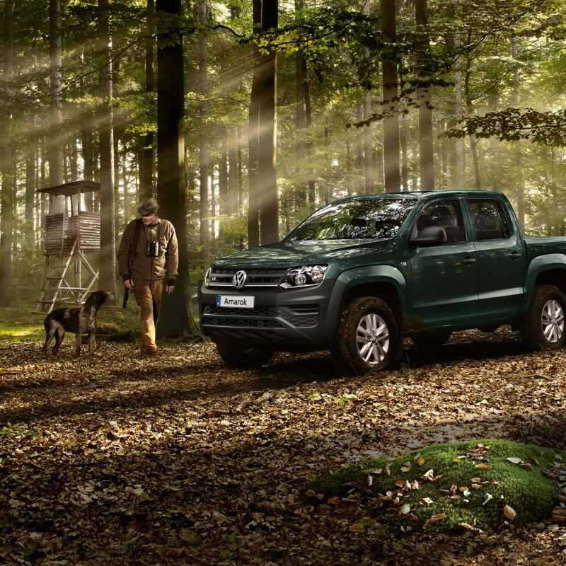 The VW Amarok is parked in a forest as a man and his dog take a walk through the autumn leaves.