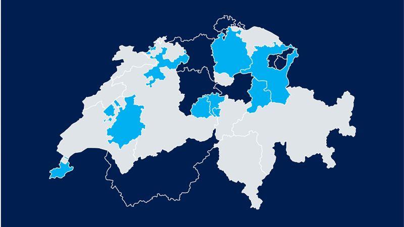Eine Karte der Schweiz zeigt, in welchen Kantonen es Vergünstigungen für Elektroautos gibt
