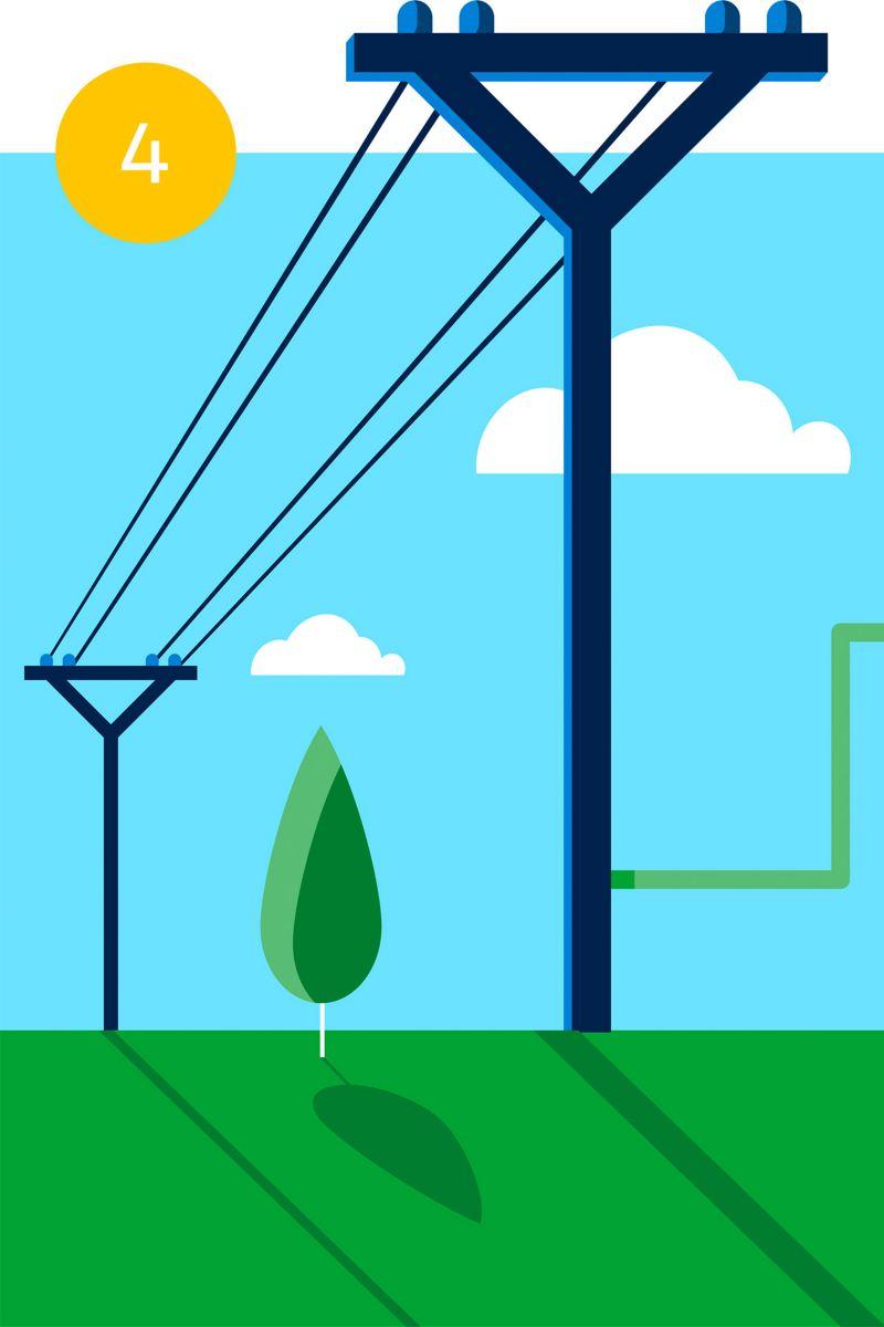 Illustration de réseaux électriques publics