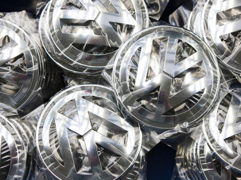Close-up of welded Volkswagen badges