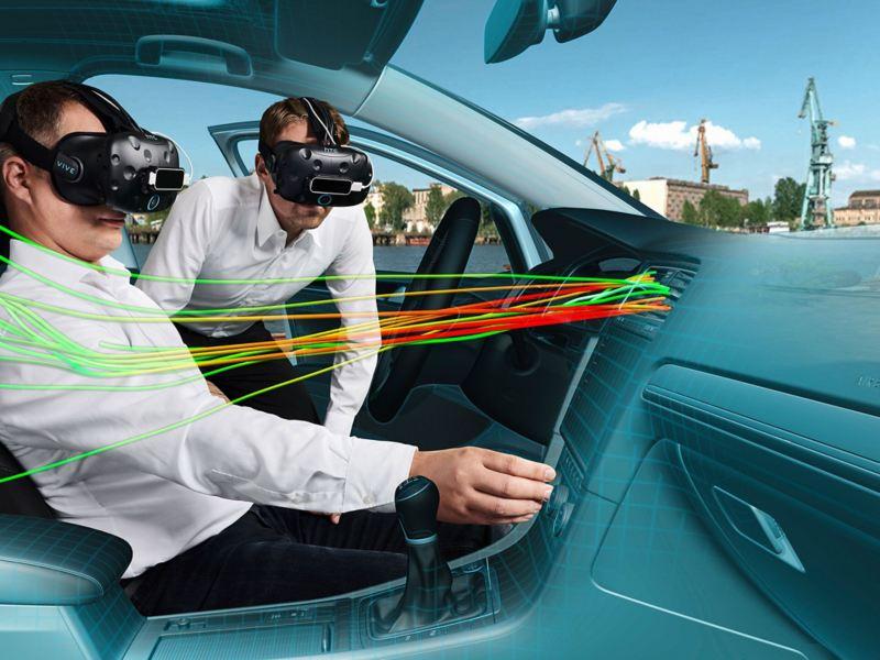 VR-Developer untersuchen die Ausströmung der Klimaanlage