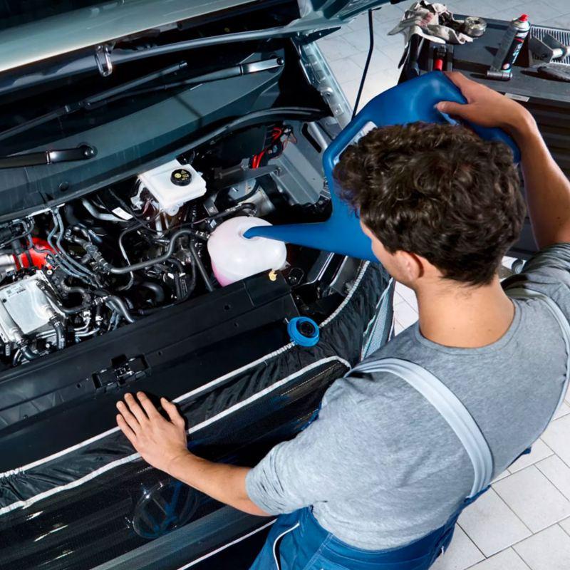 Un meccanico rabbocca i liquidi di un'auto.