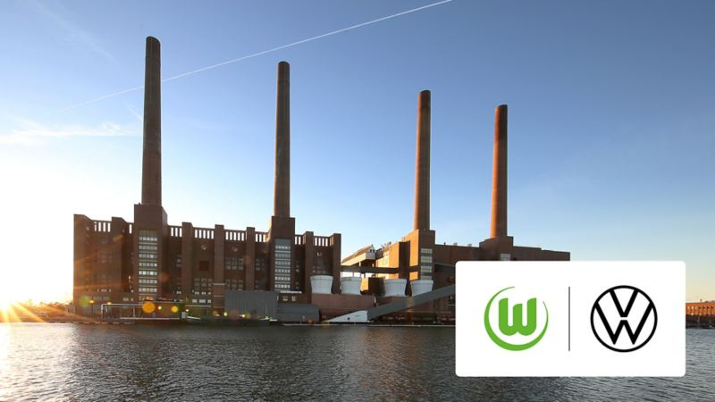 Hauptbild: Historisches Kraftwerk vom Volkswagenwerk Wolfsburg; Bild im Bild: Logos vom Vfl Wolfsburg und Volkswagen
