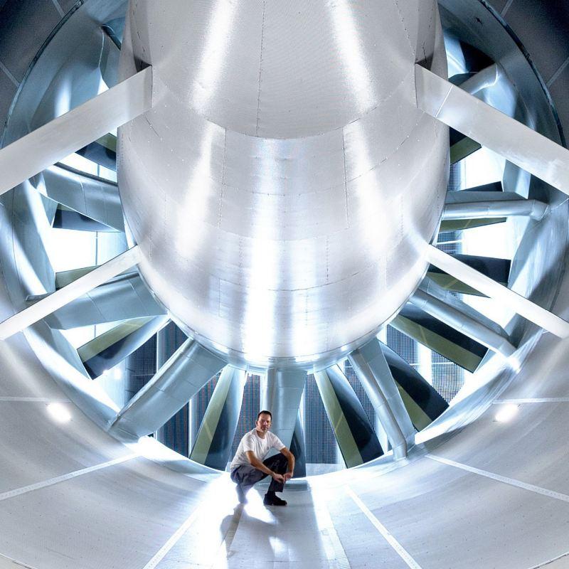 Turbine im Windkanal-Effizienz-Zentrum