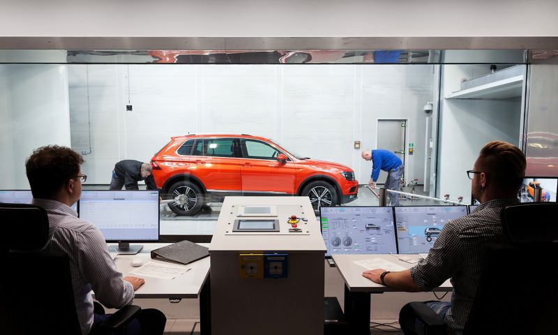 Vehicles in the Wind Tunnel Efficiency Centre in Wolfsburg