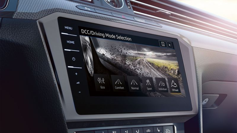 Image of the offroad mode in the on-board computer of the VW Passat Alltrack