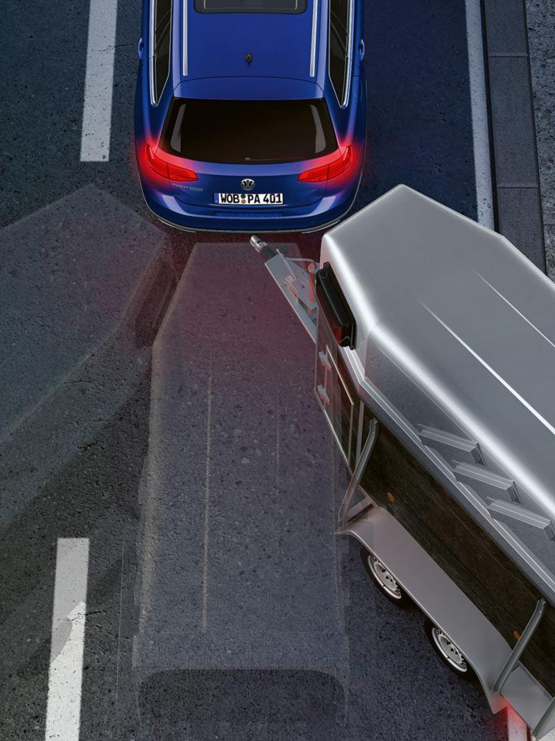 Skemaatiline kujutis Passati haagisega manööverdamise abisüsteemist Trailer Assist: erinevates asendites hobusehaagisega Passat Varianti tagantvaade