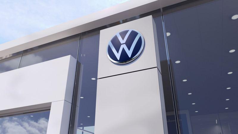 Das Volkswagen Logo bei einem Volkswagen Händler