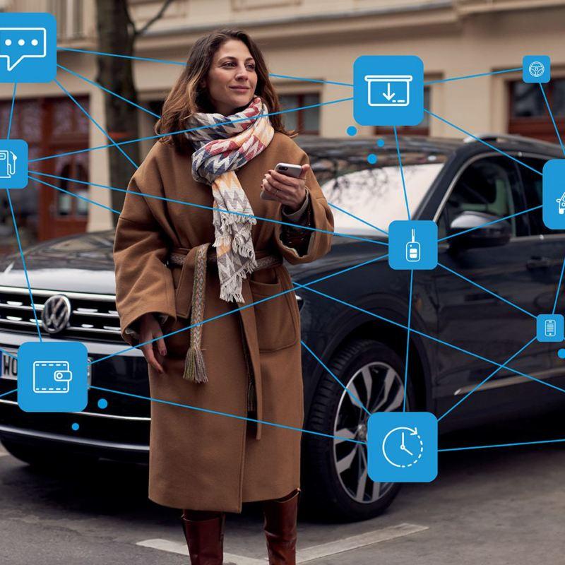 Eine Frau steht vor einem parkenden VW Tiguan und nutzt ihr Smartphone mit zahlreichen digitalen Diensten – Volkswagen Mobilitätsdienste