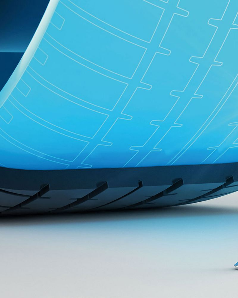 Illustration of the inside of an AirStop® tyre with sealing technology, that protects the tyre from pressure loss in case of damage