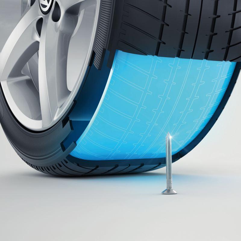 Illustration des Inneren eines AirStop® Reifen mit Seal-Technologie, welche den Reifen im Falle einer Beschädigung vor Druckverlust schützt