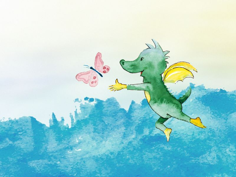 Illustration von dem Drachen Tabaluga – Volkswagen Engagement