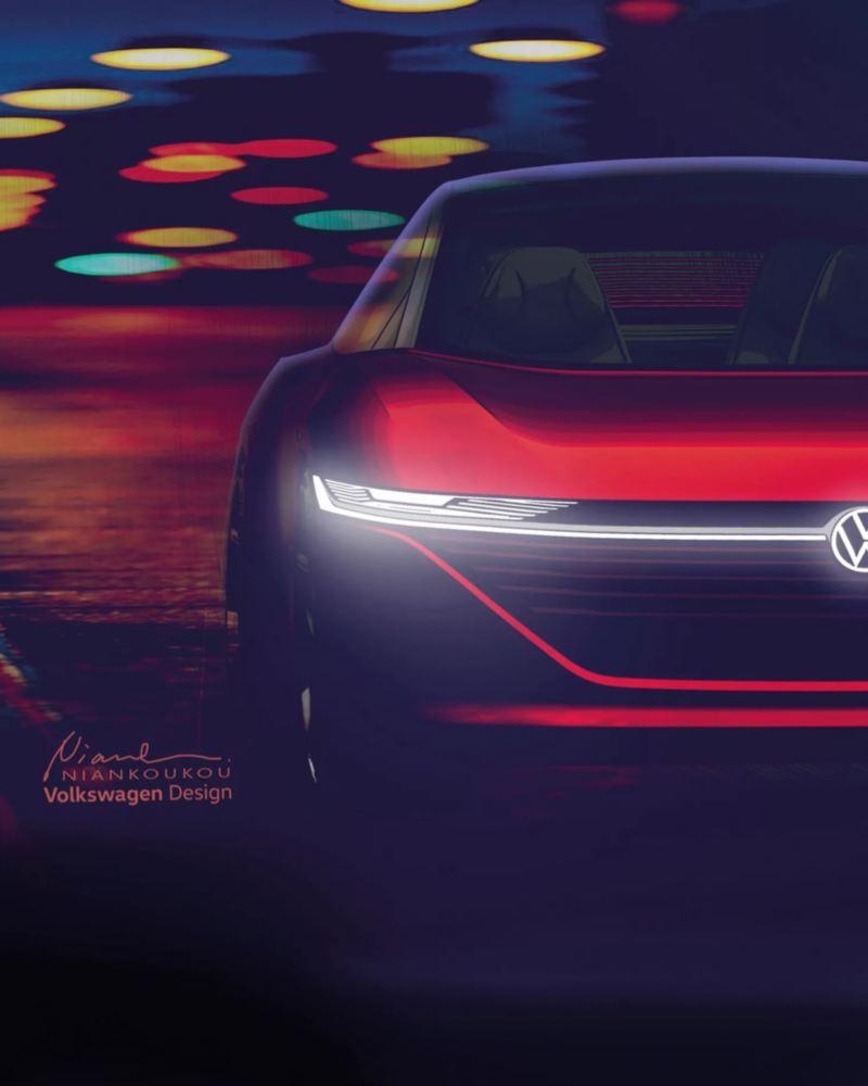 Detalle de los faros encendidos de un Volkswagen ID. Vizzion en la ciudad por la noche