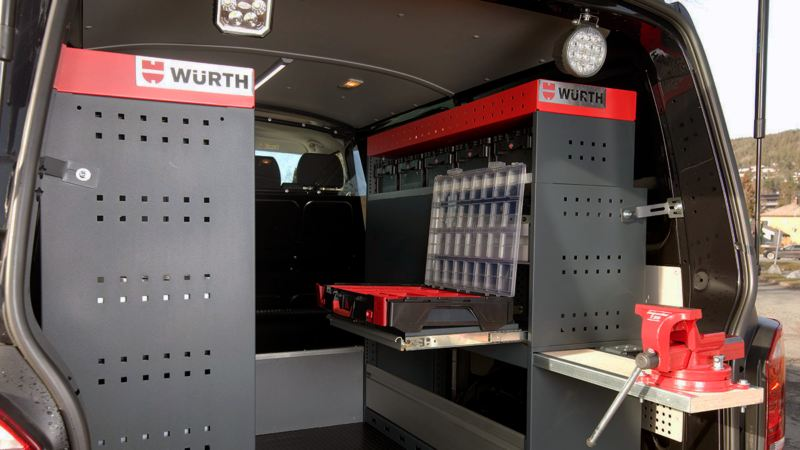 vw Volkswagen bilinnredning varebilinnredning serviceinnredning Würth varebil Transporter Caddy Amarok Crafter kassebil