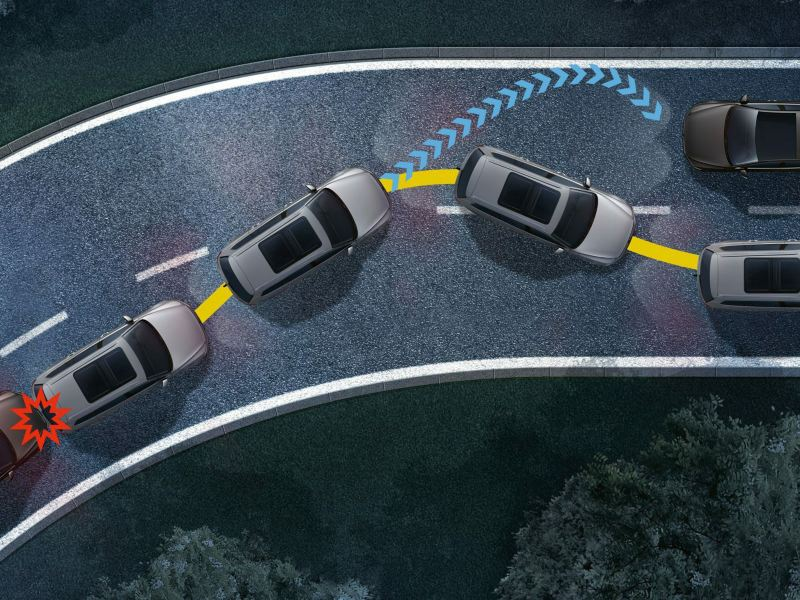 post-collision braking system.