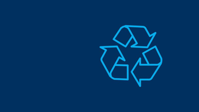 Recycling icon on a blue background