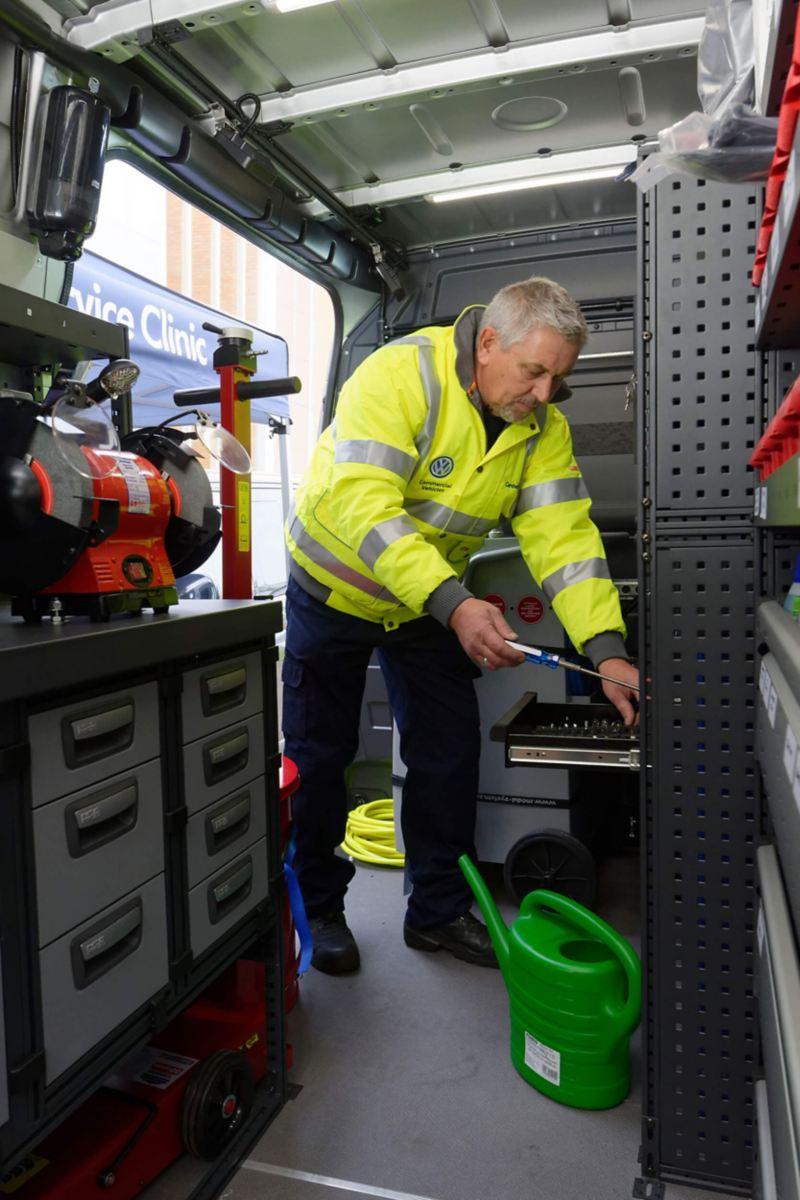 Mobile Service worker inside van