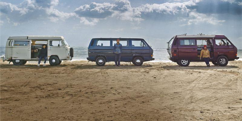 Three camper vans on the beach