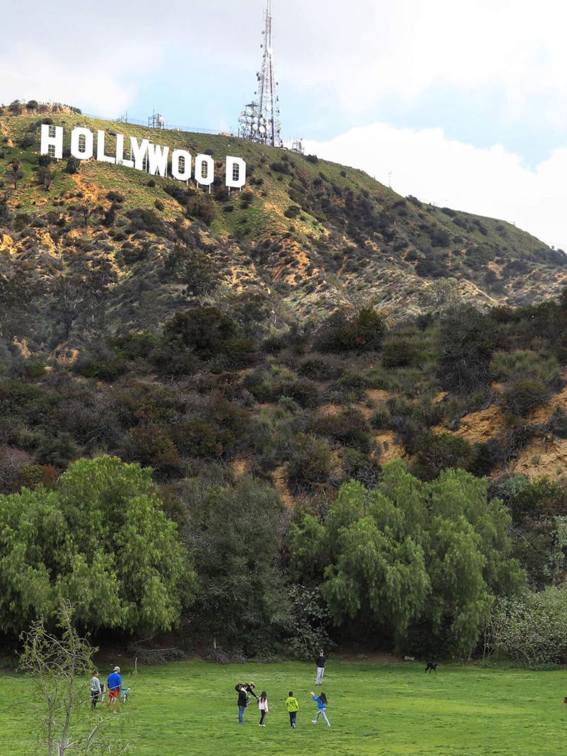 Park under Hollywood sign in California sunshine