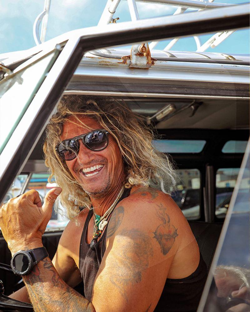 Surfer in the California camper van