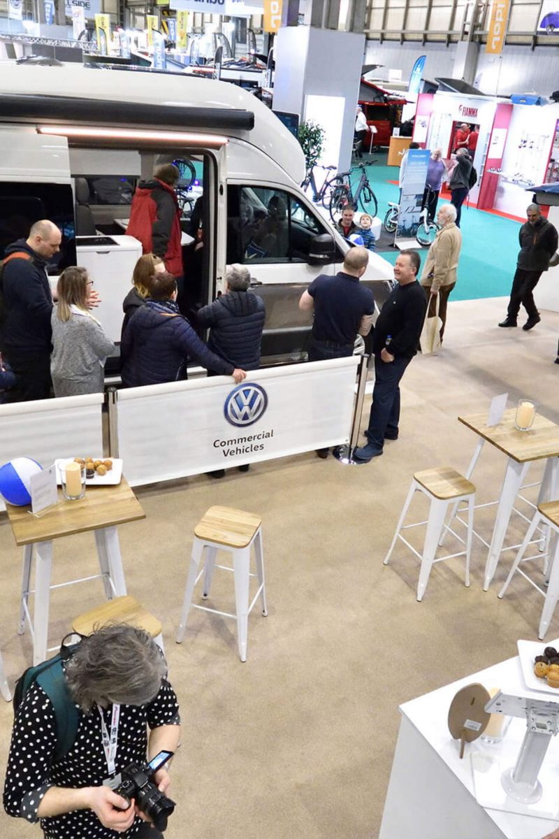 aerial view of VW stand at Caravan Show in NEC