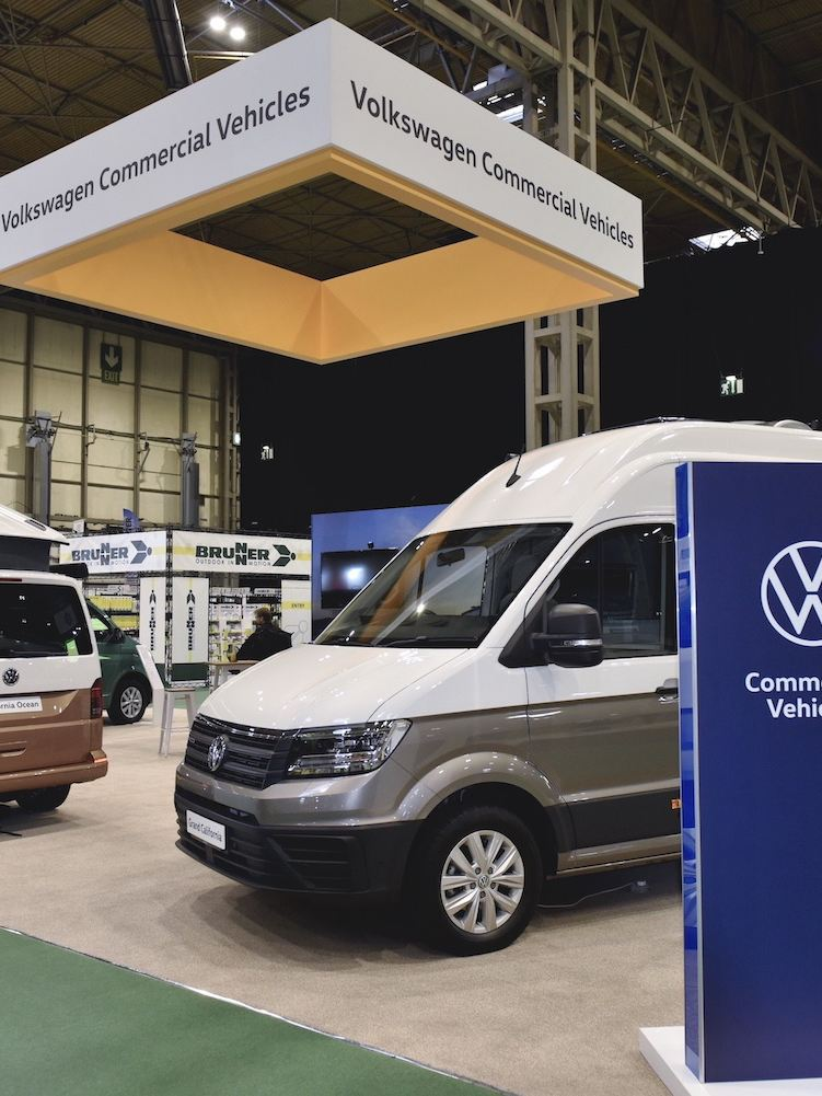 A VW California and a Grand California at the CCM Show 2020